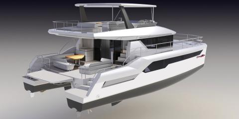 Back view of moorings 534pc catamaran