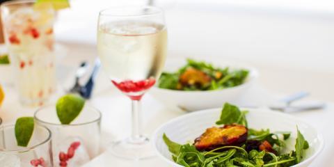 Salad and wine served in Croatia