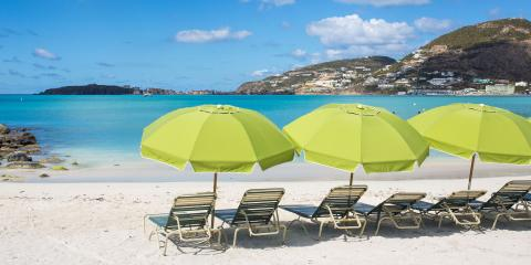Deck Chairs and Parasols on a St Maarten Beach