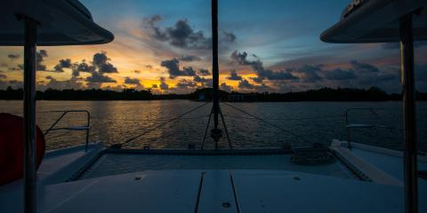 Sunset view on Moorings yacht