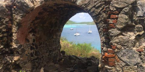 Catamarans seen from Annaberg ruins in the USVI