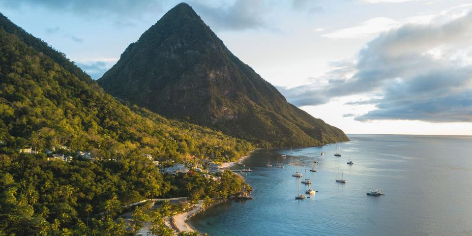 Sailboats anchored near the Pitons in St. Lucia