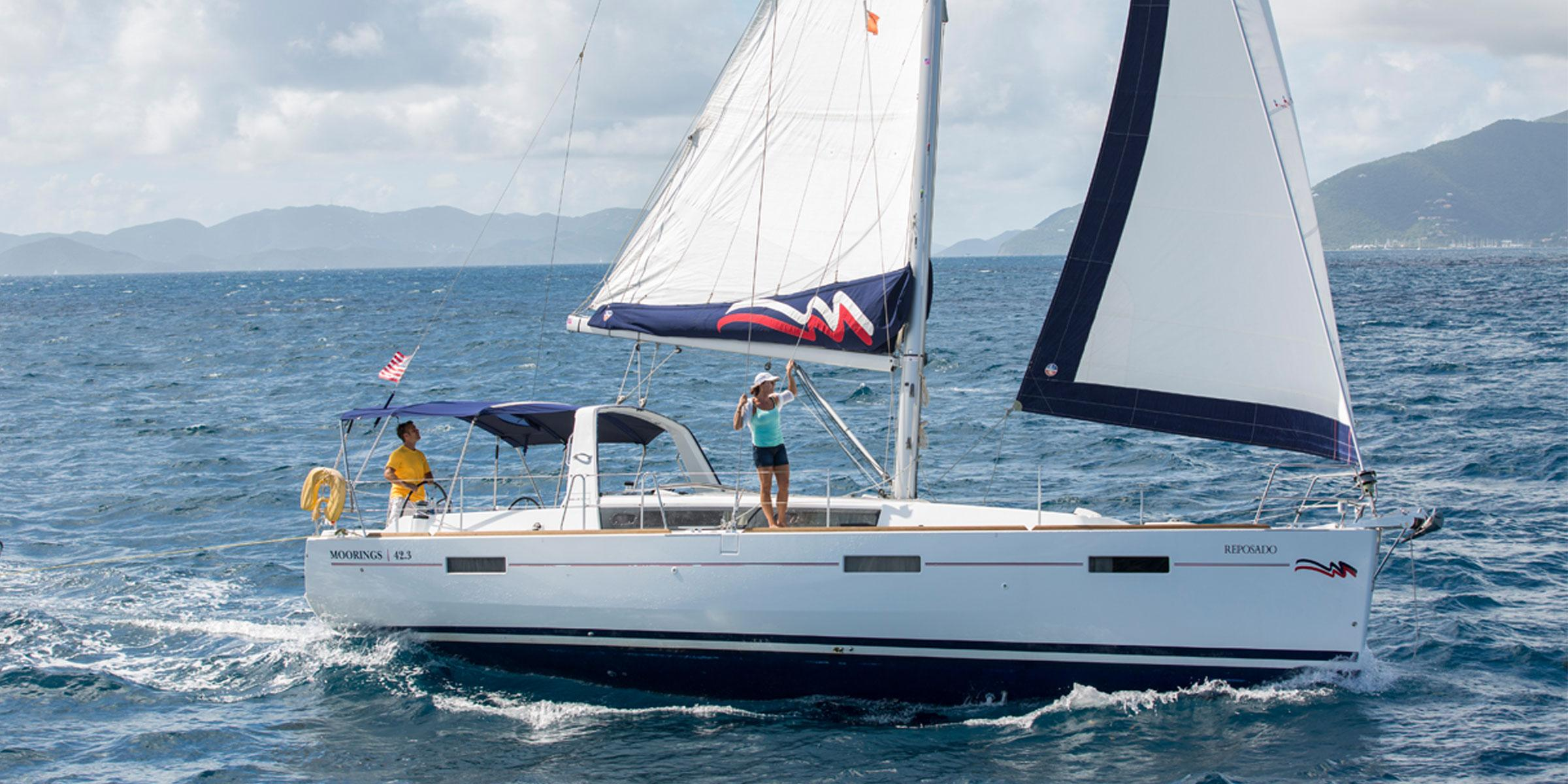 Couple sailing on the Moorings 42.3