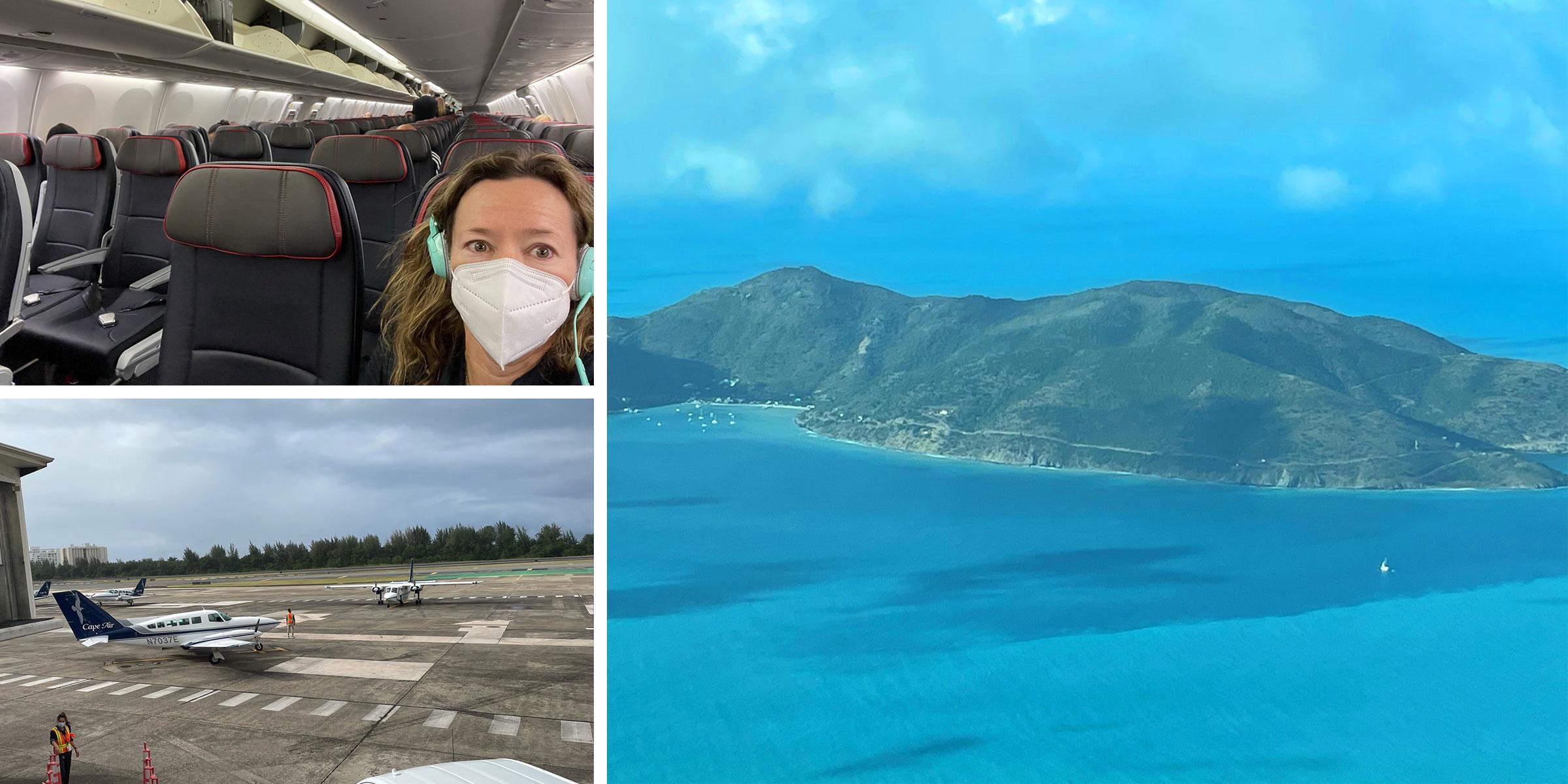 Josie with mask on flight, Cape Air plane, birdeye view Tortola BVI