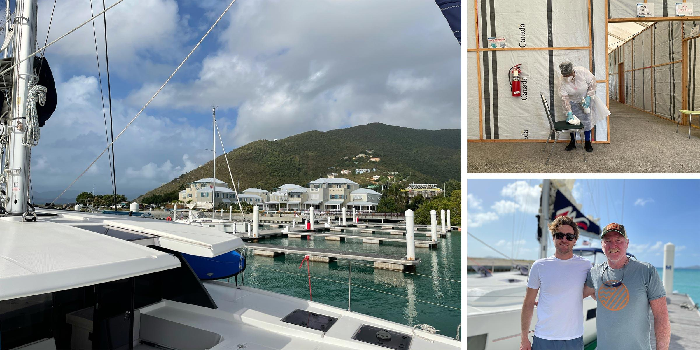 Nanny Cay Marina, COVID testing, charter guests Stuart and Max