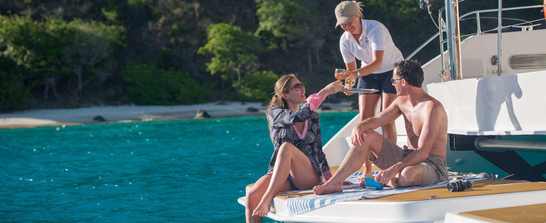 couple on crewed yacht