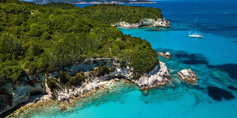 Corfu Island Coastline Greece From Above